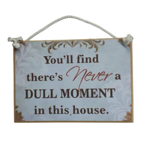 Country Printed Quality Wooden Sign And Hanger Never A Dull Moment Plaque New