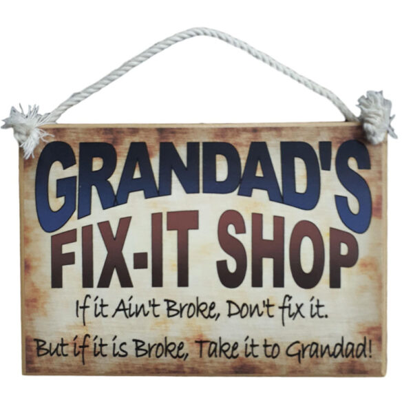 Country Printed Personalized Wooden Sign Dad, Grandad, Pop, Opa Fix It