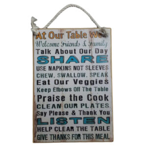 Country Printed Quality Wooden Sign With Hanger Our Table We Share Plaque New