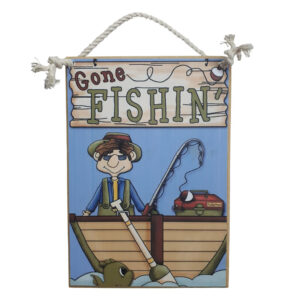 Country Printed Quality Wooden Sign Gone Fishing Funny Plaque New