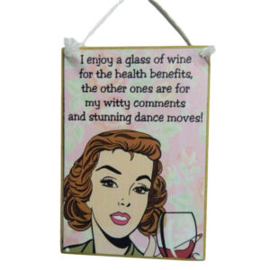 Country Printed Quality Wooden Sign GLASS OF WINE DRINKING Plaque New