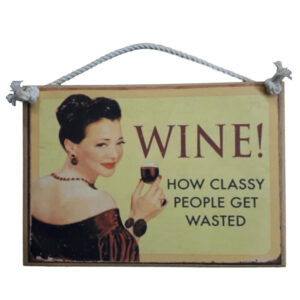 Country Printed Quality Wooden Sign with Hanger WINE CLASSY PEOPLE Funny Plaque New