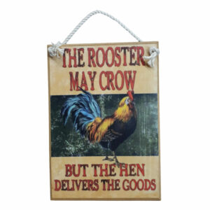 Country Printed Quality Wooden Sign Rooster Crow Funny Plaque New
