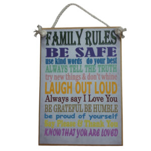 Country Printed Quality Wooden Sign FAMILY RULES 2 Plaque New