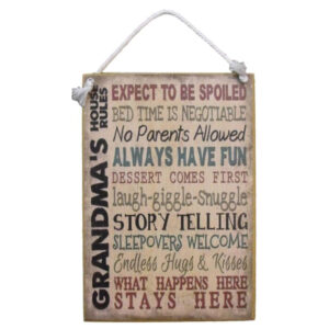 Country Printed Quality Wooden Sign With Hanger Grandma's House Rules Plaque