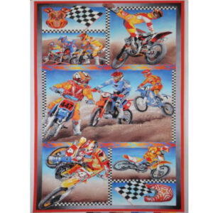 Quilting Patchwork Sewing Fabric MOTOCROSS MOTORBIKE Material Panel 60×110cm New