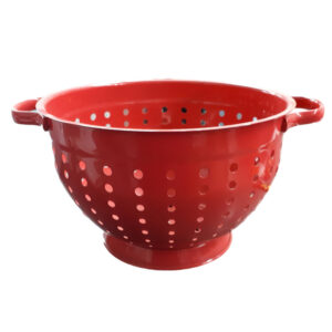 Enamel Food Grade Colander Red Kitchen Drainer for Spaghetti or Rice New