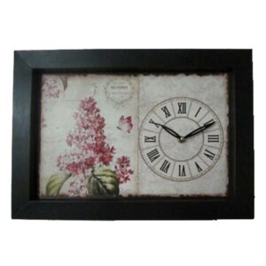 Clock French Country Wall Clocks Time Pink Floral with Black Framed Print New