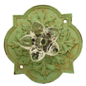 French Country Vintage Inspired Green Ornate Back with Crystal Knob New