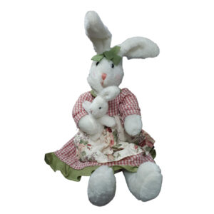 French Country Dressed Fabric Rabbit with Baby Dolls able to Sit, Easter New
