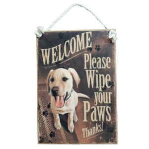 Country Printed Quality Wooden Sign Wipe Your Paws Labrador Dog Plaque New