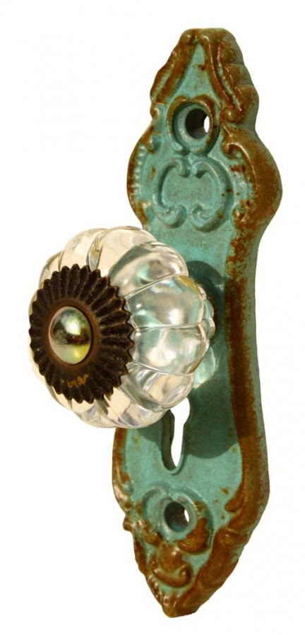 French Country Vintage Inspired Wrought Iron Aqua with Crystal Knob (Z3)
