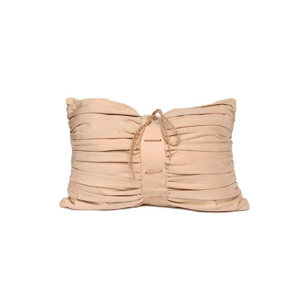 Beige Suede Rouged Cushion (D5)
