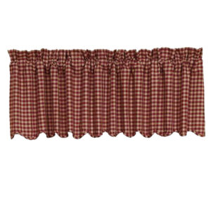 French Country Curtain Ruffled BURGUNDY CHECK Kitchen Window Tier 60x180cm New