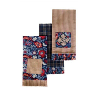Country Vintage look New Tea Towels Cotton Dish Cloths set 3 INDIGO PATCH New