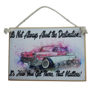 Country Printed Quality Wooden Sign DESTINATION CLASSIC CAR Funny Plaque New