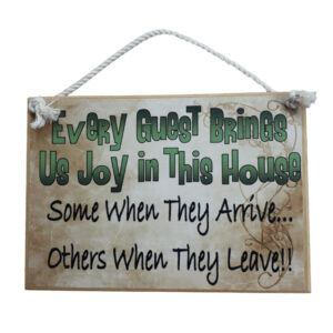 Country Printed Quality Wooden Sign And Hanger Guest Brings Us Joy Plaque New