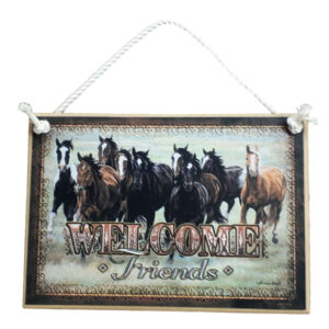 Country Printed Quality Wooden Sign Welcome Friends Horses New Plaque Sayings