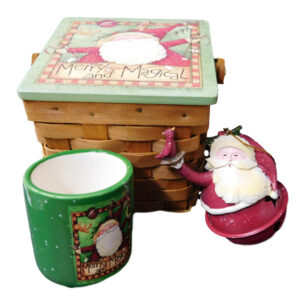 Christmas 3pc Santa Gift Set with Candle Holder Basket Ornament New