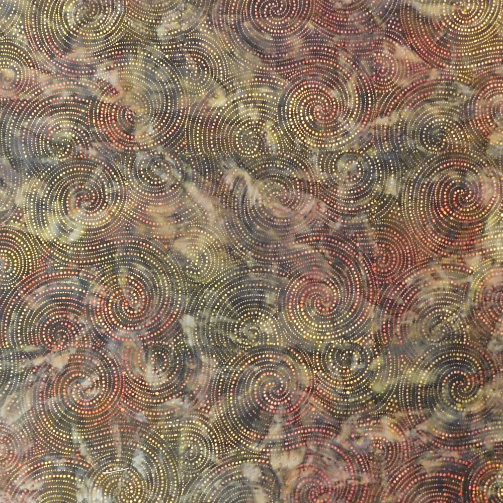 Quilting Patchwork Sewing Fabric BROWN GREEN GOLD SPOTS BATIK Material 50x55 ...