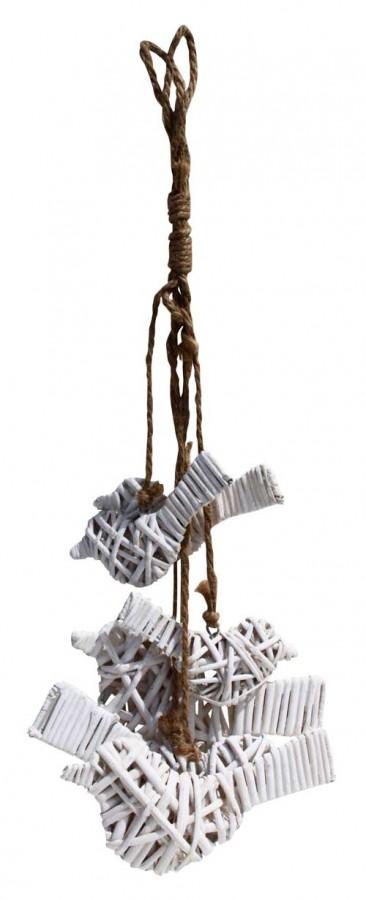 White wicker hanging birds on string (Z3)