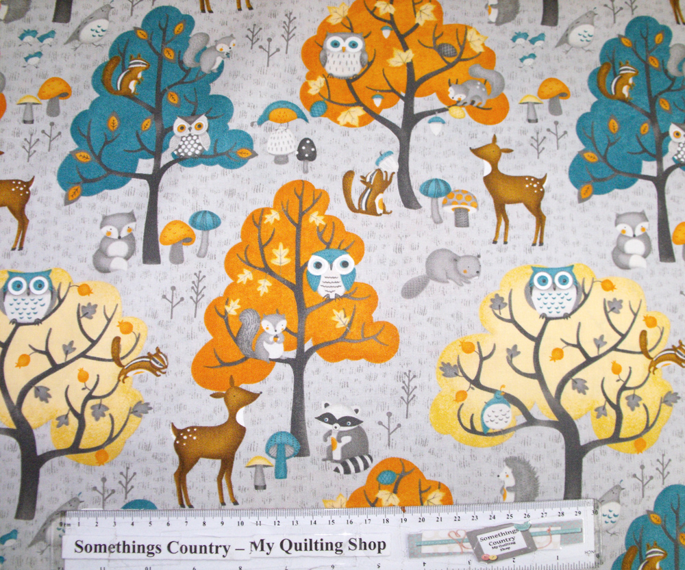 Country Patchwork Quilting - Cute Critters Grey - Cotton Sewing 50x55 FQ New