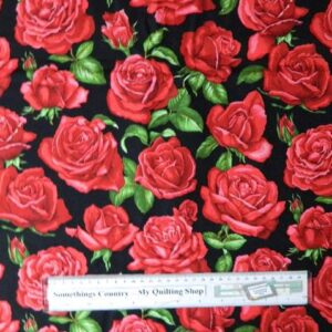 Patchwork Quilting Fabric & Red Roses Large Material Cotton FQ 50x55cm NEW