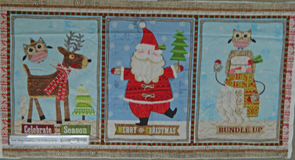Country Patchwork Quilting Fabric Christmas Bundle Up Xmas Panel 60x110cm NEW