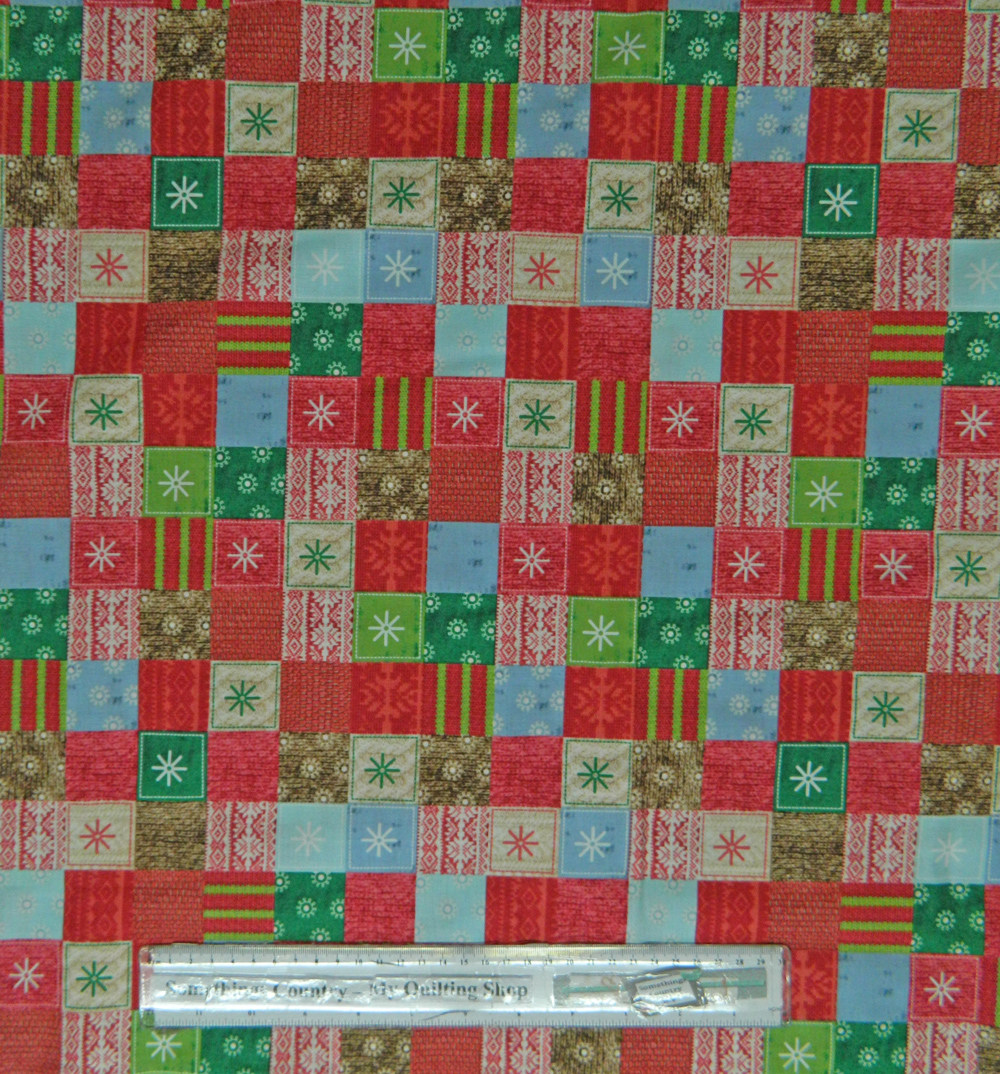 Patchwork Quilting Sewing Fabric Allover 50x55cm Christmas Bundle Up Checks RED