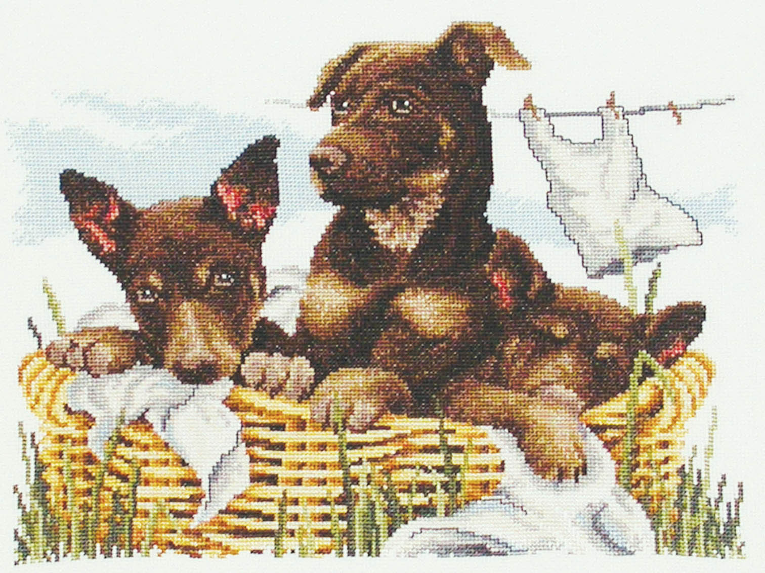 Country Threads Cross Stitch Kit - Wash Day Kelpies