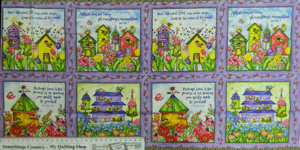 BIRDHOUSE GARDENS Squares Patchwork Quilting Sewing Fabric Panel 30x110cm 2rows
