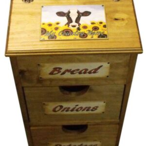 Handmade Timber Wooden Kitchen Bread (or Vegie), Potato & Onion Bin New