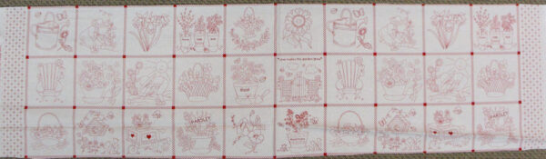 LOVE GARDEN GROW Red Patchwork Quilting Sewing Fabric Panel 30x110cm NEW Country