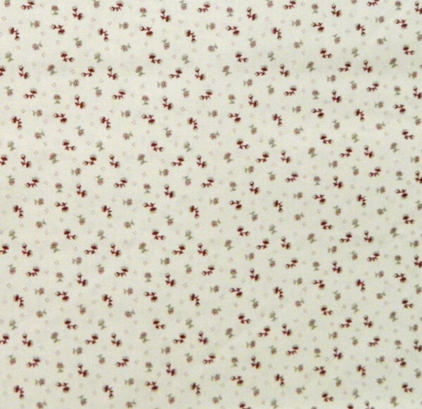 Country Patchwork Quilting Sewing Fabric CREAM FLOWERS Small Print FQ 50x55cm