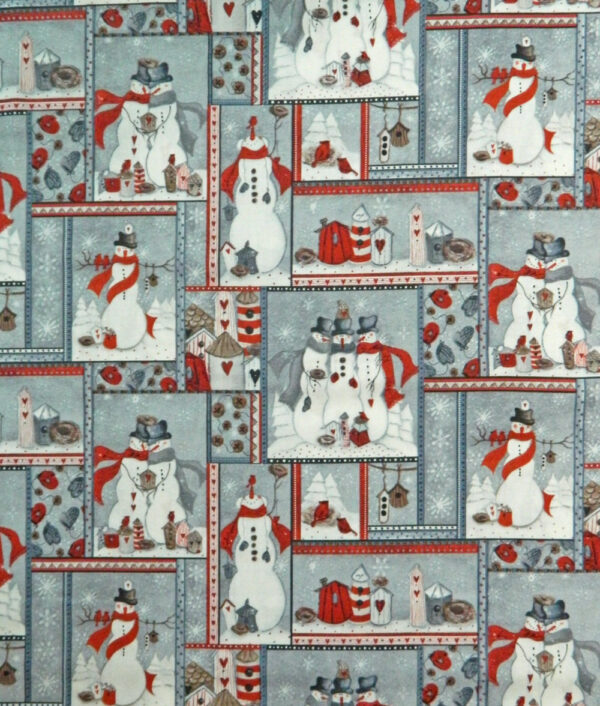 Country Patchwork Quilting Sewing Fabric SNOWMAN PATCH FQ Xmas Grey 50x55cm NEW