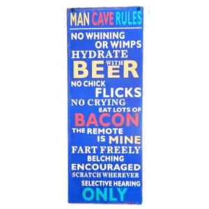 French Country Wall Tin Sign MAN CAVE RULES NO CHICK FLICKS Wall Art New