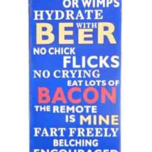 French Country Vintage Inspired Wall Tin Sign MAN CAVE RULES NO CHICK FLICKS Wall Art New