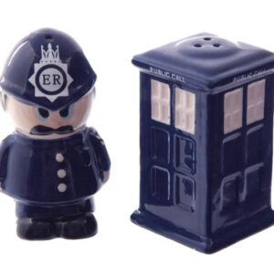 Collectable Novelty Salt and Pepper Set DR WHO POLICE BOX OFFICER Kitchen FREEPOST New