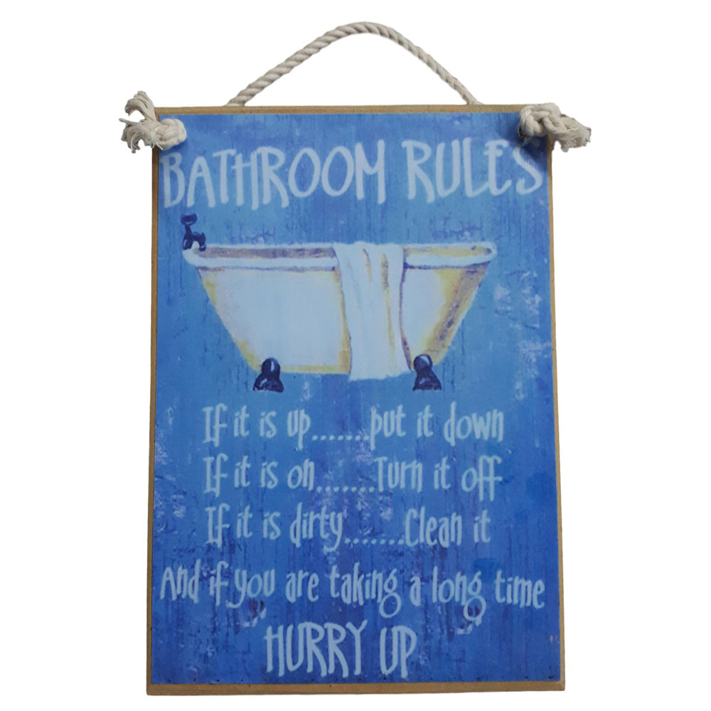 Country Printed Quality Wooden Sign, Bathroom Rules Plaque