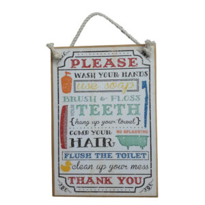 Country Printed Quality Wooden Sign Wash Your Hands Bathroom Plaque New