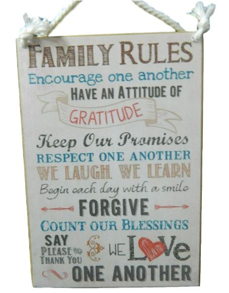Details about Country Printed Quality Wooden Sign FAMILY RULES, GRATITUDE  Plaque New Inspire