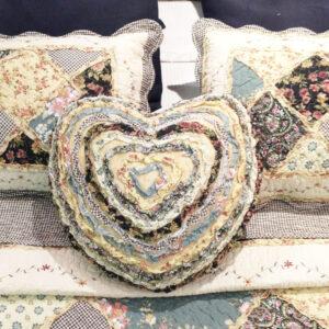 French Country New Cushion SIESTA Ruffled Heart Cushion Filled 45cm new