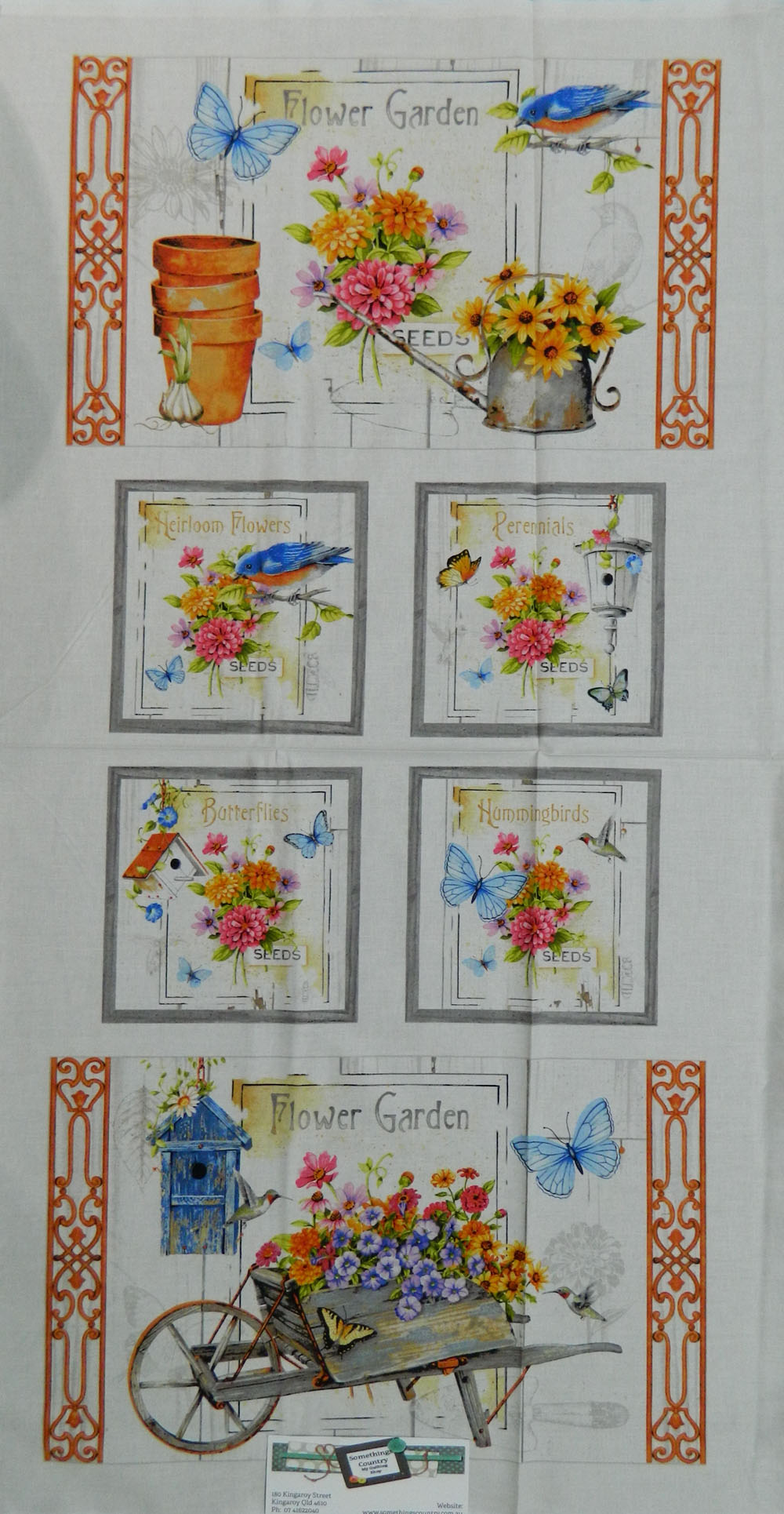 Country Patchwork Quilting Fabric FLOWER GARDEN BIRD Sewing CottonPanel 60x110cm