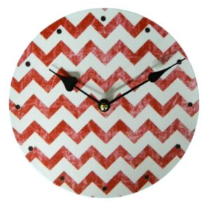 Clock French Country Vintage Inspired Wall Clocks Time RED CHEVRON 29cm NEW