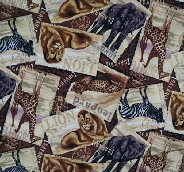 Patchwork Quilting Fabric AFRICAN SAFARI TRAVELS NEW Material Cotton FQ 50X55cm