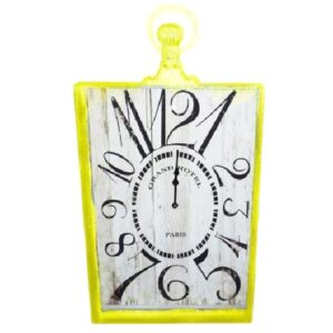 French-Country-Chic-Retro-Inspired-Wall-Clocks-53CM-YELLOW-MED-RECTNGLE-New-Time