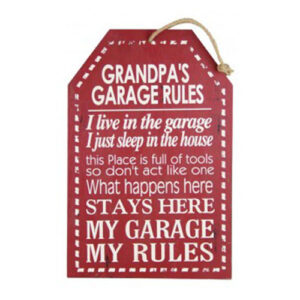 Country Printed Wooden Sign Grandpas Garage Rules Plaque New