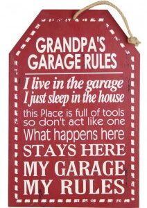 Country Printed Quality Wooden Sign GRANDPAS GARAGE RULES Funny Plaque New