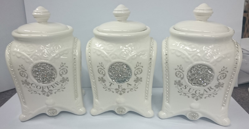 French Country Elegant Kitchen Canisters Tea Coffee Sugar