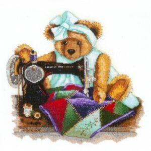 DMC Cross Stitch Kit PATCHWORK BEAR Counted X Stitch NEW incl Thread